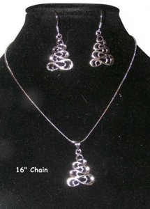 Unknown 2pc Silver Necklace Earring Set