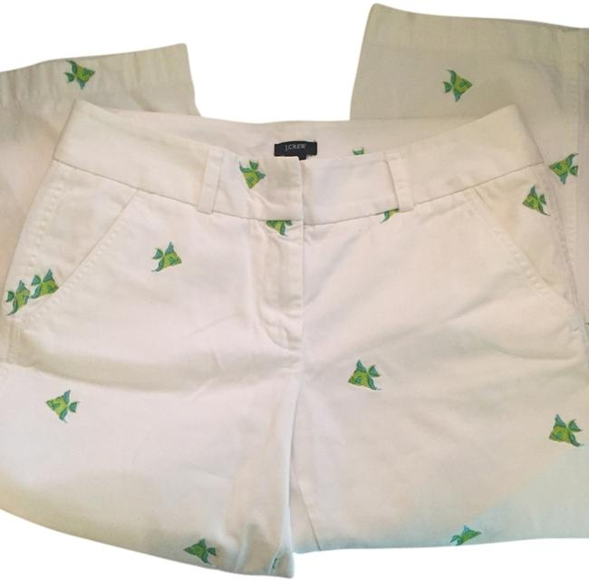 Item - White with Fish Print Light Wash Favorite Fit Embroidered Capri/Cropped Jeans Size 29 (6, M)