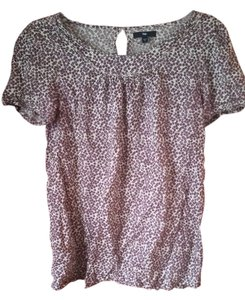 Gap Lightweight Floral Flowers Top Purple and tan