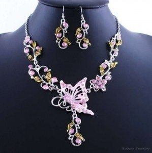 2pc Pink Butterfly Necklace Earring Set Free Shipping