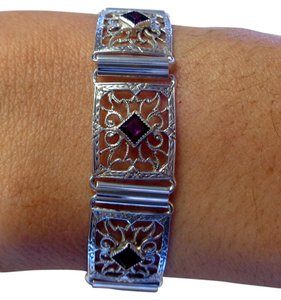 Other Sterling Silver Filigree Link Bracelet with 3 princess cut CZ Amethyst
