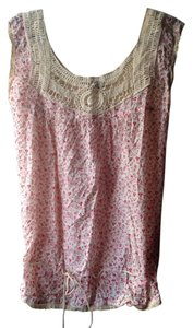 Jennifer & Grace Lingerie Sleepwear Casual Flowers Romantic Top White Cream Red Pink Floral
