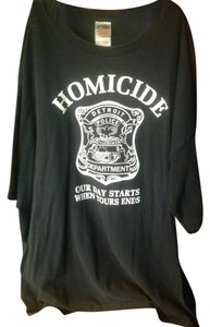 Fruit of the Loom Mens Graphic T-shirt Black White Detroit Police Homicide 3xl Xxxl T Shirt