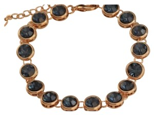 Other Blue Swarovski Crystal & Rose Gold Plated Tennis Bracelet 7-8.6