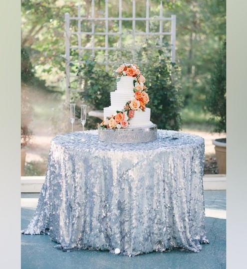 Silver Sequin Tablecloth Overlay *sale*