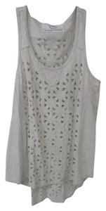Sloane Rouge Geometric Cut Out Sleeveless Heather Top Gray