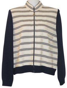 St. John Striped Santana Knit Navy Blue & Ivory Blazer