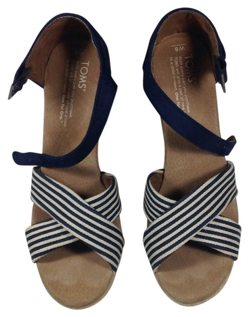 Item - Navy/White Wedges Size US 8 Wide (C, D)