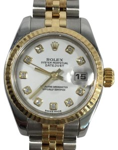 Rolex Rolex Datejust Steel 18K Yellow Gold White Diamond Dial Watch 179173