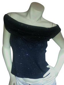 Onyx Nite Holiday Glam Shimmer Stretchy Festive Off The Shoulder Top Black w/silver sparkles