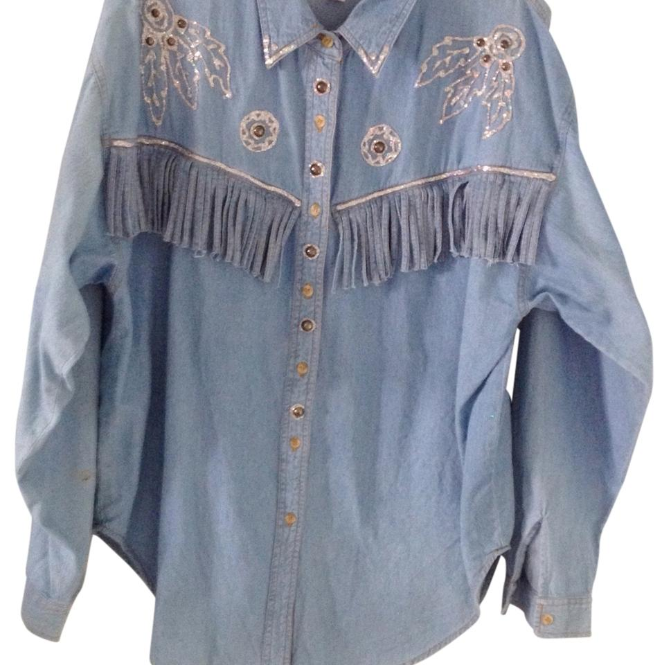 Bay 6 buffalo clothing co light blue wash jean blouse for Light blue button down shirt
