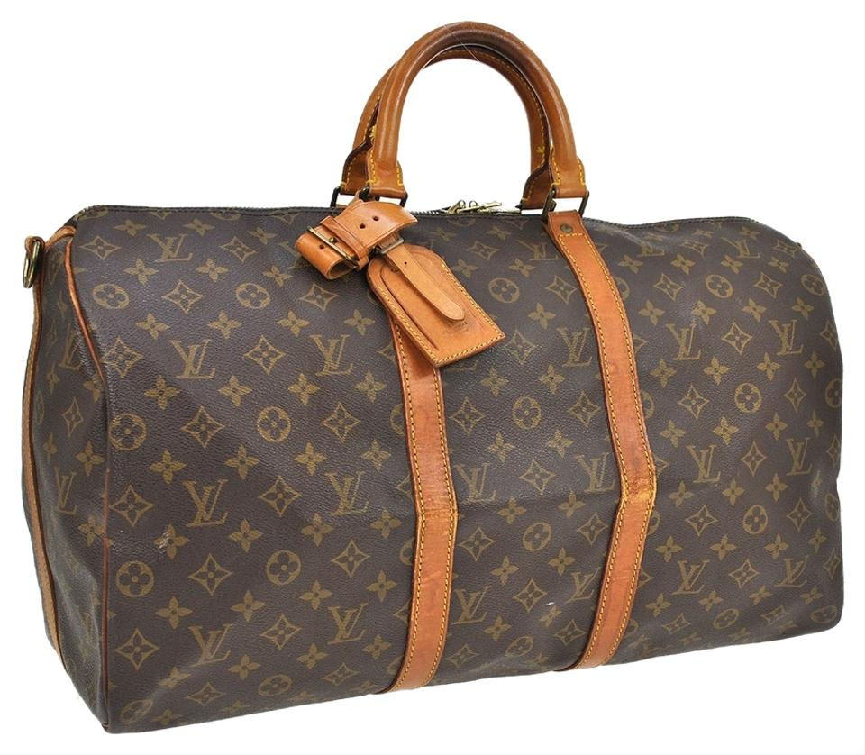 louis vuitton 50 bandouliere travel hand luggage duffle carry all suitcase monogram travel bag. Black Bedroom Furniture Sets. Home Design Ideas