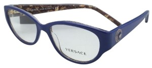 Versace New VERSACE Eyeglasses VE 3183 5085 52-16 140 Blue & Baroque Frame w/ Demo LensES