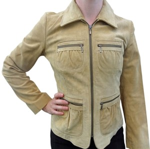 Banana Republic Suede Leather Zippers Beige Leather Jacket