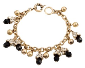 Other New Boho Yellow Gold , Black & Crystal Charm Bracelet Approx 8.2