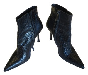 Gucci - Leather Embossed Leather Stilleto Sexy Heels Black Boots