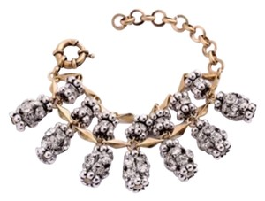 New Boho Yellow Gold & Clear Crystal Double Layer Charm Bracelet 6.5-7