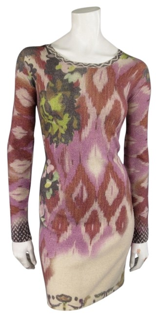Item - Multicolor Floral Ikat Print Wool / Cashmere Sweater Mid-length Short Casual Dress Size 4 (S)