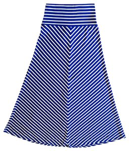 Mossimo Supply Co. Casual Striped Striped Maxi Skirt Blue