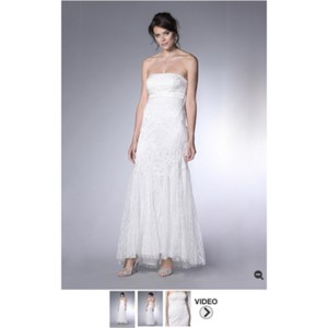 Sue Wong White Silver Lace Embroidery Sequence Destination Wedding Dress Size 0 (XS)