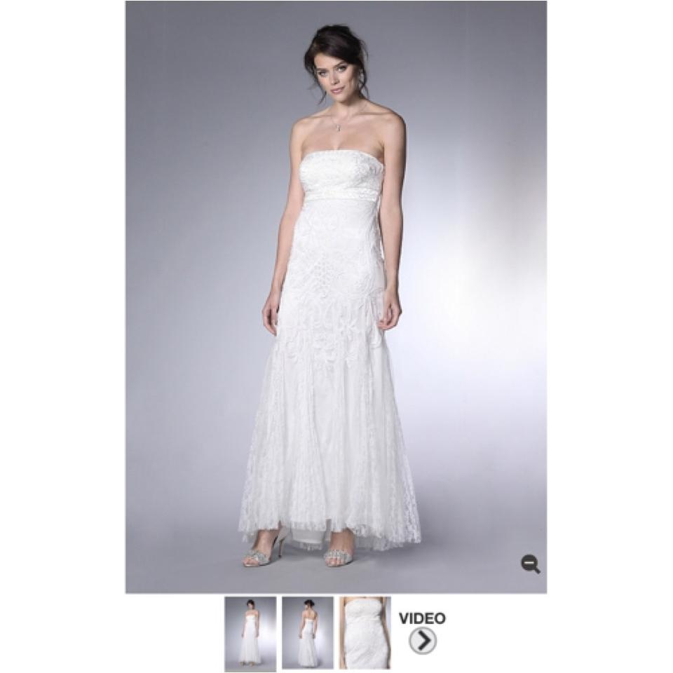 Sue Wong White Silver Lace Embroidery Sequence Boho Destination ...