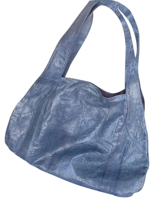Item - Tote Blue Geniune Watersnake Shoulder Bag