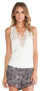 BCBGeneration Deep V Lace Top Whisper White