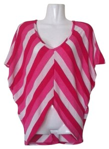 Michele Pink White Stripes Batwing Sweater