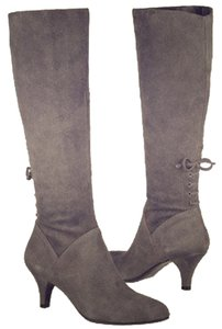 Naturalizer Lace Up Lace Back Suede grey Boots