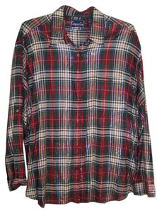 Company One Longsleeve 3x Womens Plus Size Holiday Plaid Button Down Shirt red, green blue, white, gold shiny material
