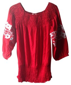 Jennifer & Grace Boho Bohemian Hippie Festival Lace Top Red White