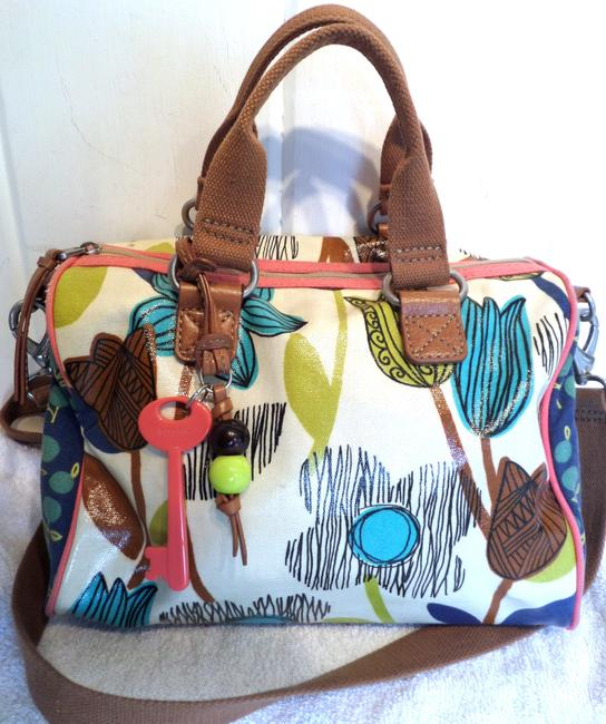 Item - W Key Per Tan W/ Detachable Strap Multi Color Leather & Coated Twill Satchel