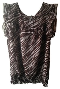 Animal Print Safari Goth 90s Top Brown White
