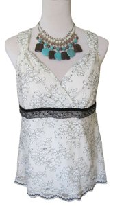 New York & Company Scalloped Hem Sweetheart Neckline Lace Trim Lace Overlay Top Ivory, White, Black, Silver