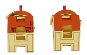 Hermès Hermes Gold Plated Cage d'H Stud Earrings