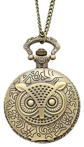 Other Burnish Gold Owl Pocket Watch Sweater Necklace Sweater Chain