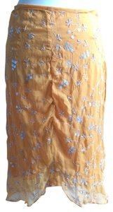 Cynthia Rowley Silk Beaded Silver Skirt Orange