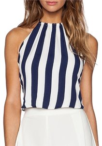 Backstage Navy and white Halter Top