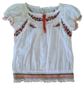 Anthropologie Top White and embroidery