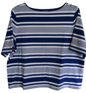 Liz Claiborne Nautical Shirt Top blue, white red