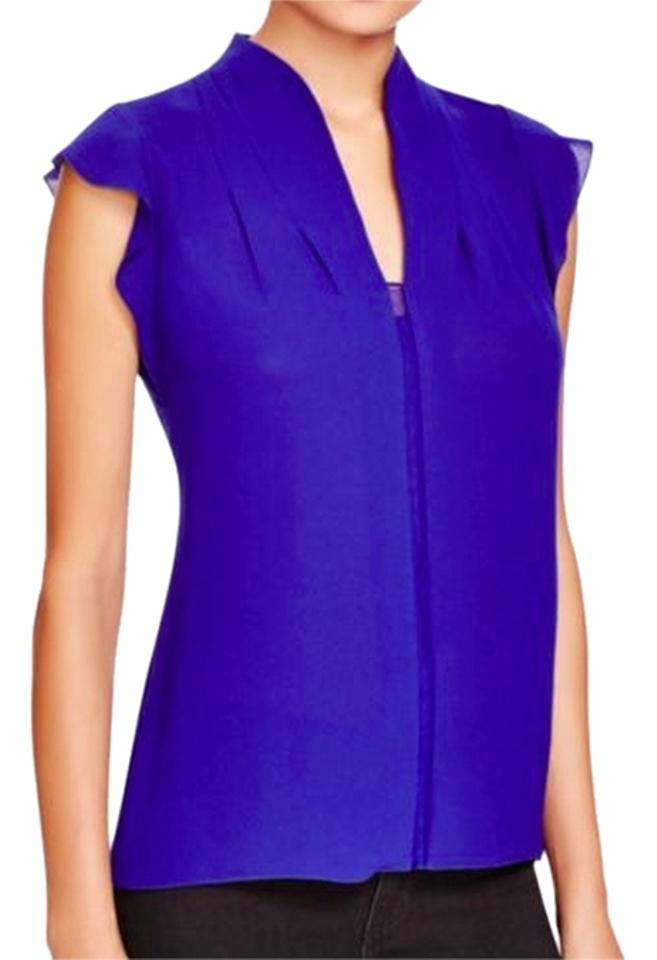 860c502613032d Elie Tahari Blue With Tags Judith Ruffle Sleeve Blouse. Size  8 (M) ...