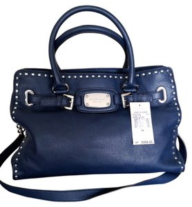 Michael Kors Leather Pebbled Chain Tote in Navy