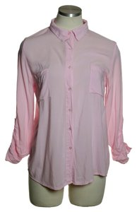 Ambiance Apparel Rayon Chest Pocket Tab Sleeve Button Down Shirt Pink