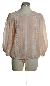 T-Bags Los Angeles Sheer 3/4 Sleeve Textured Top Peach