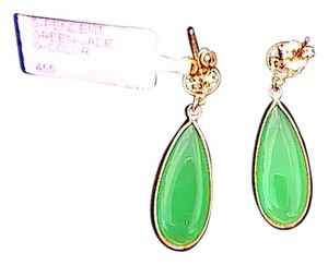 Other Green Jade Stud Pierced Dangle Earrings (#1)