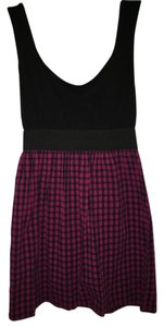 Xhilaration short dress Black and checkered Color-blocking Shift Cinch on Tradesy