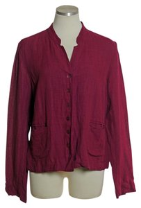 Eileen Fisher Linen Blend Long Sleeve Red Violet Jacket