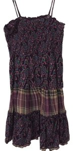 Xhilaration short dress Purple and floral Print Plaid Sundress on Tradesy