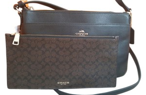 Coach 2 Piece Removable Pouch Leather Small Cross Body Bag