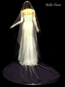 Bella Tiara Cathedral Crystal Beaded Edge Ivory Wedding Veil